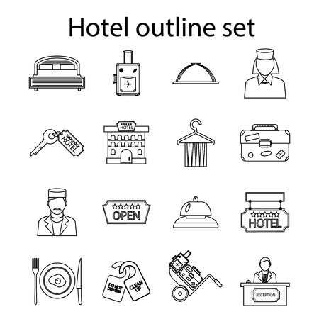 accommodation: Hotel icons set in outline style. Hotel accommodation services set collection vector illustration
