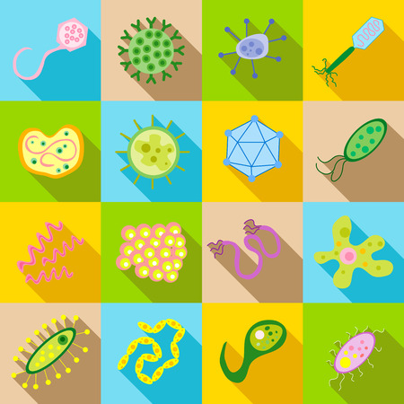 pathogen: Germ and pathogen icons set in flat style. Virus, cells , bacillus set collection vector illustration Illustration