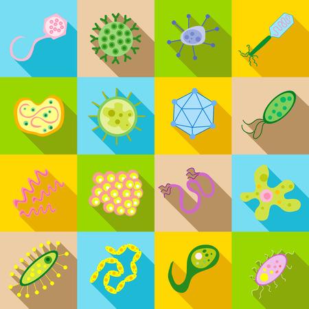 bacillus: Germ and pathogen icons set in flat style. Virus, cells , bacillus set collection vector illustration Illustration