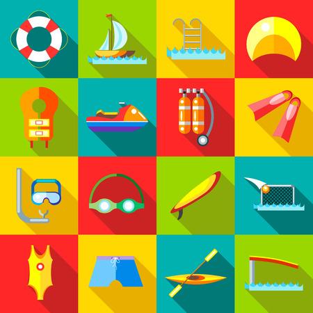 iconos de los deportes de agua ubicado en el estilo plana. elementos de natación conjunto de recopilación ilustración vectorial