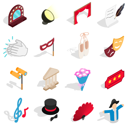 acting: Theatre icons set in isometric 3d style. Theatre acting performance elements set collection vector illustration