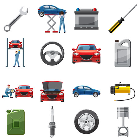 Car service icons set in cartoon style. Car repair service set collection vector illustration Stock Illustratie