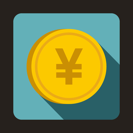 monetary: Coin yen icon in flat style with long shadow. Monetary currency symbol