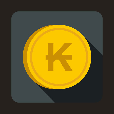 kip: Coin Lao Kip icon in flat style with long shadow. Monetary currency symbol Illustration