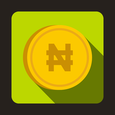 monetary: Coin Naira icon in flat style with long shadow. Monetary currency symbol