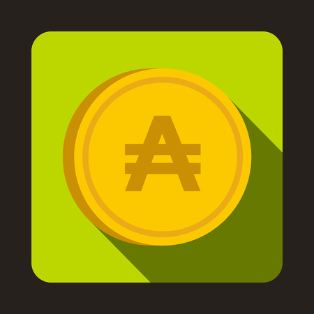 monetary: Coin austral icon in flat style with long shadow. Monetary currency symbol Illustration