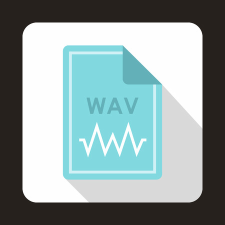 wav: File WAV icon in flat style with long shadow. Document type symbol