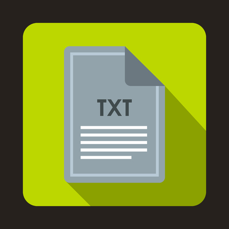 txt: File TXT icon in flat style with long shadow. Document type symbol Illustration