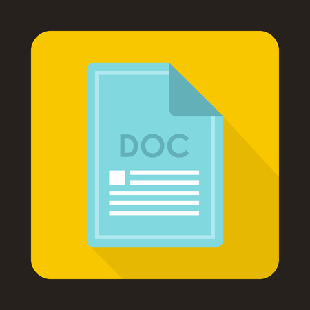 file types: File DOC icon in flat style with long shadow. Document type symbol