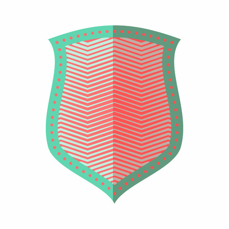 combatant: Protective shield icon in flat style isolated on white background. War symbol