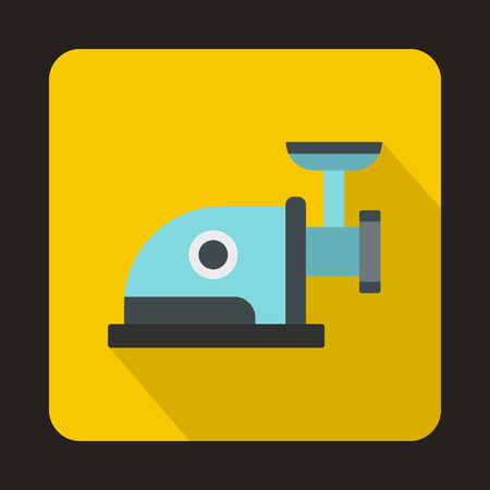 meat chopper: Electric grinder icon in flat style with long shadow. Home appliances symbol Illustration