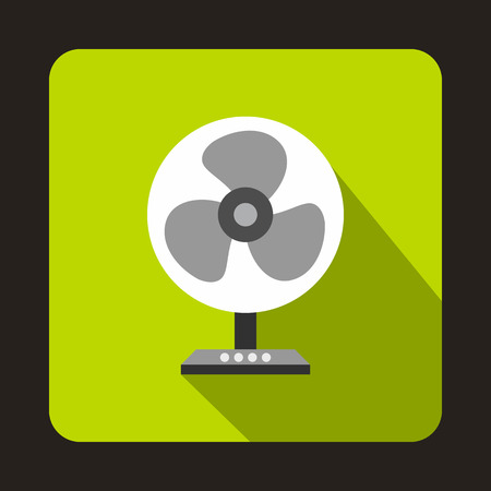 Fan icon in flat style with long shadow. Home appliances symbol