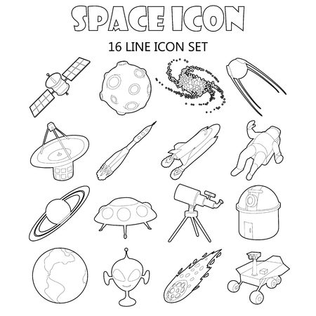 astronautics: Space icons set in outline style. Space and astronomy elements set collection vector illustration Illustration