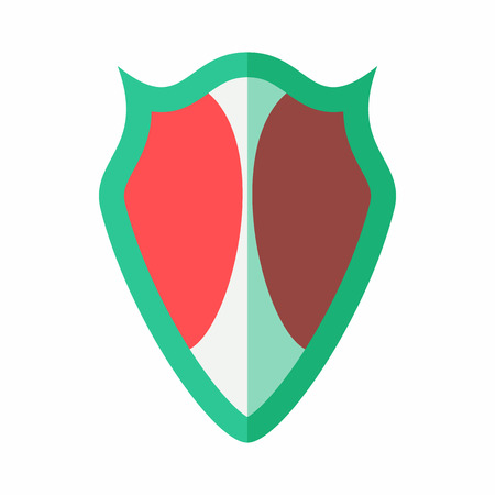 protective shield: Red-green protective shield icon in flat style isolated on white background. War symbol Illustration