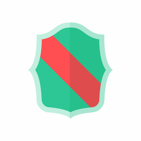 combatant: Green shield with red stripe icon in flat style isolated on white background. War symbol Illustration