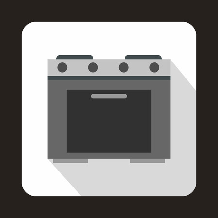gas appliances: Gas stove icon in flat style with long shadow. Home appliances symbol