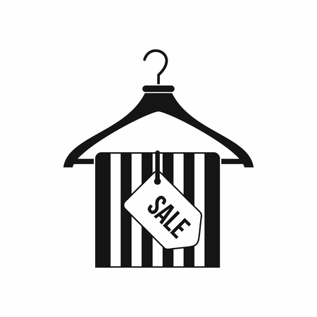 sellout: Hanger with sale tag icon in simple style isolated on white background. Sellout symbol