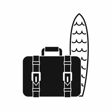 surfboard fin: Suitcase and surfboard icon in simple style isolated on white background. Trip symbol
