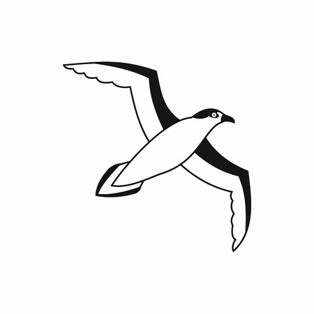 seabird: Seagull icon in simple style isolated on white background. Bird symbol