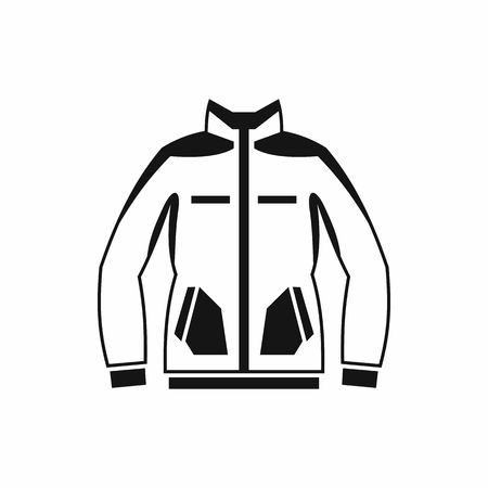 winter jacket: Men winter jacket icon in simple style isolated on white background. Clothing symbol
