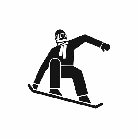 Snowboarder icon in simple style isolated on white background. Sport symbol