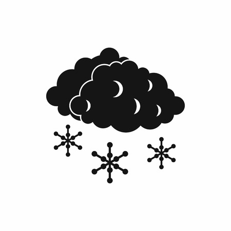 hail: Clouds and snow icon in simple style isolated on white background. Weather symbol Illustration