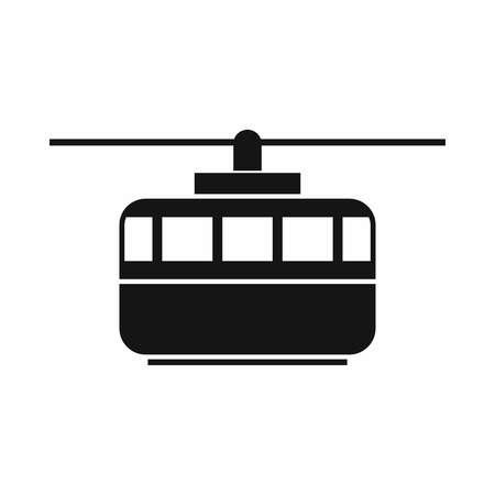 rope way: Funicular icon in simple style isolated on white background. Transportation symbol Illustration