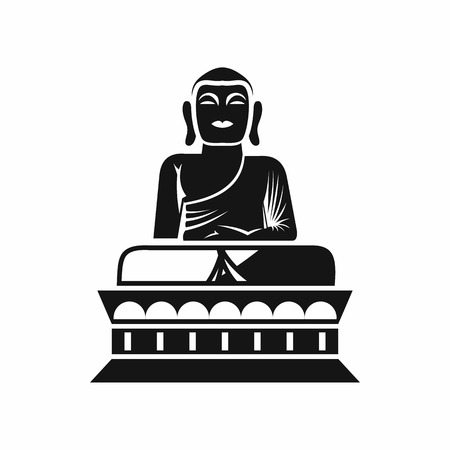 Buddha statue icon in simple style isolated on white background