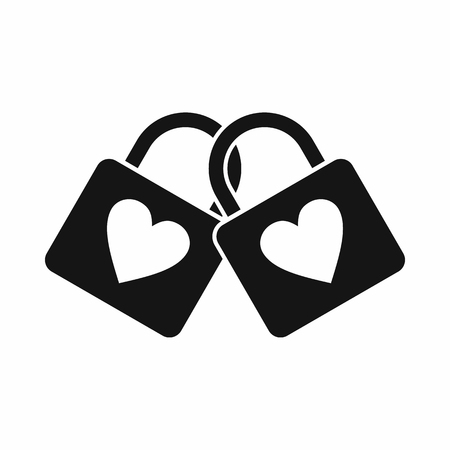 padlocks: Two locked padlocks with hearts icon in simple style isolated on white background Illustration