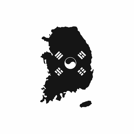 South Korea map with national flag icon in simple style isolated on white background Illustration