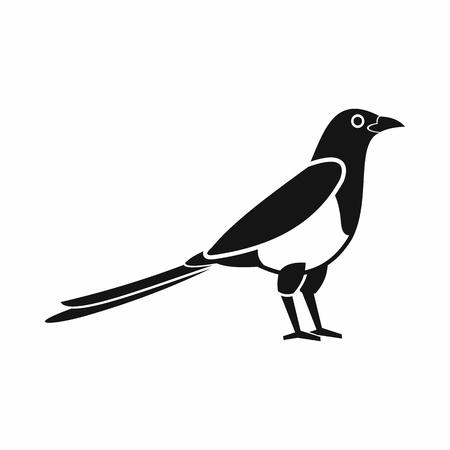 magpie: Bird magpie icon in simple style isolated on white background
