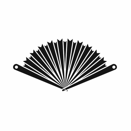 stuffy: Opened oriental fan icon in simple style isolated on white background Illustration