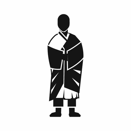 buddhist monk: Buddhist monk icon in simple style isolated on white background