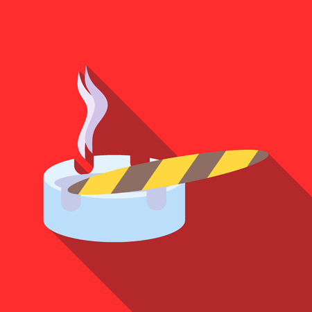 ashtray: Cigar burned and ashtray icon in flat style on a red background