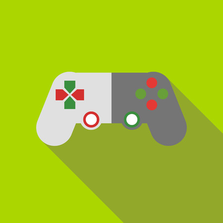joy pad: Game joystick icon in flat style on a green background Illustration