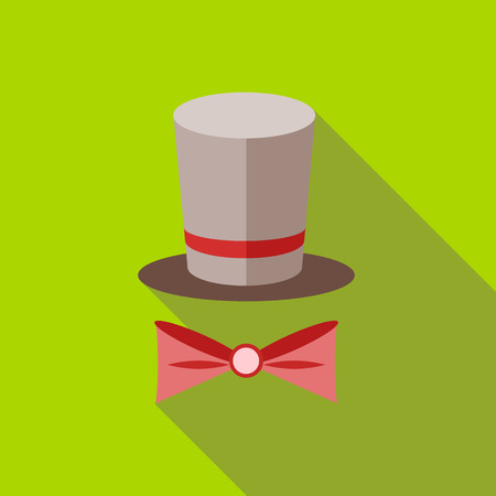 Top hat and bow tie icon in flat style on a green background