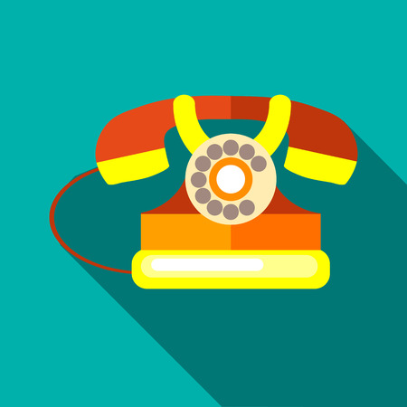 Retro telephone icon in flat style on a turquoise background