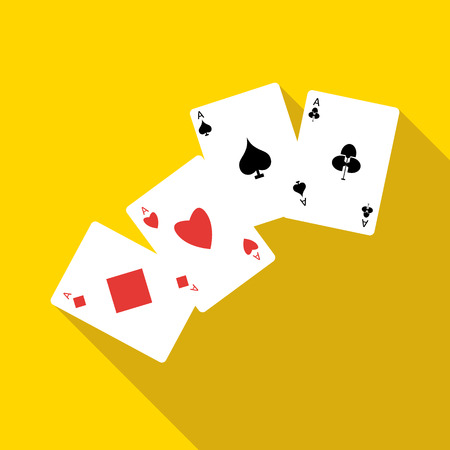 Four aces playing cards icon in flat style on a yellow background