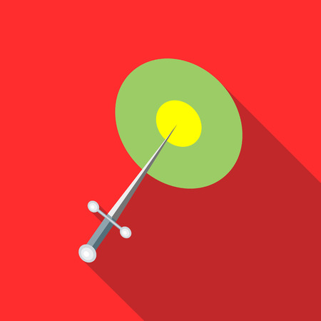 throwing knife: Steel throwing knife icon in flat style on a red background Illustration