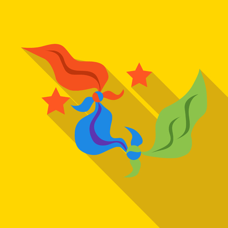 Multicolored handkerchiefs of magician icon in flat style on a yellow background