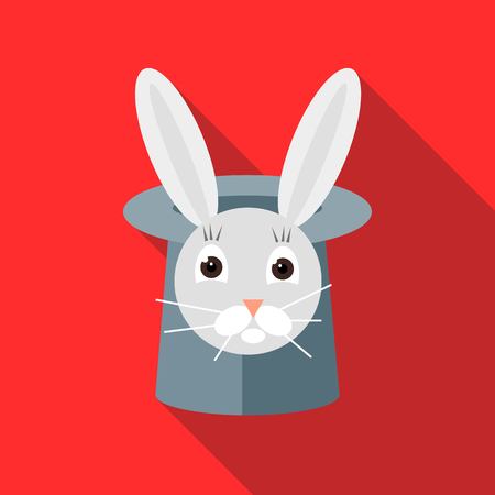 Rabbit in a top magic hat icon in flat style on a red background Illustration