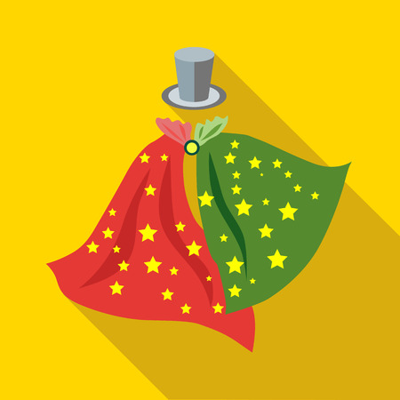 Top hat and handkerchiefs of magician icon in flat style on a yellow background