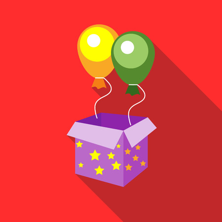 magic box: Balloons appearing from magic box icon in flat style on a red background