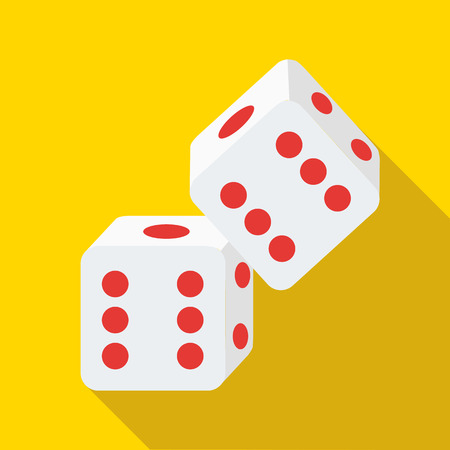 rolling dice: Two rolling white dice icon in flat style on a yellow background Illustration