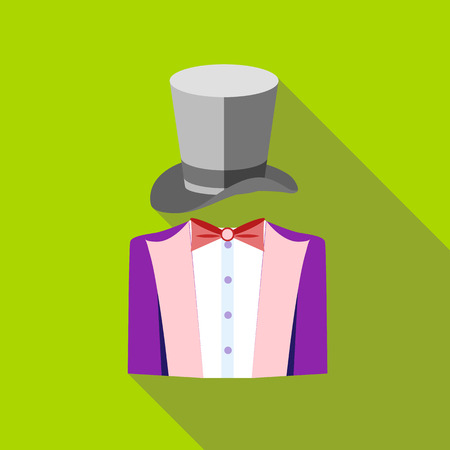 conjuror: Tuxedo and top hat icon in flat style on a green background