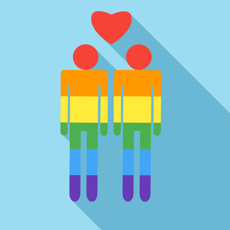 homosexual sex: Male couple in rainbow colors icon in flat style on a light blue background Illustration
