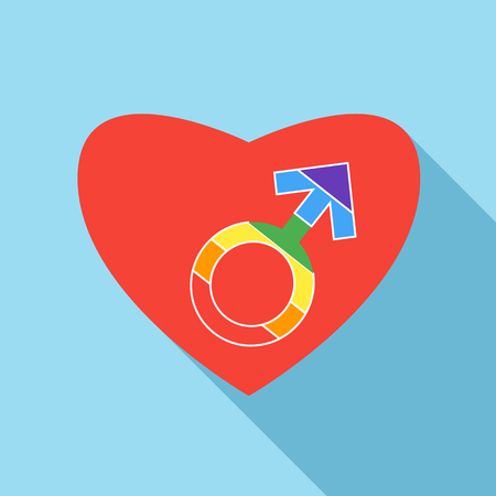 homosexual sex: Red heart with male rainbow gender symbol icon in flat style on a light blue background