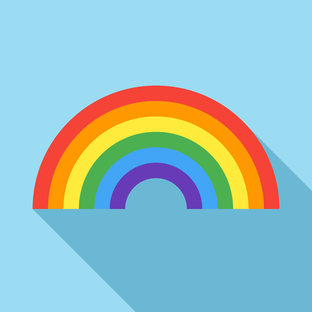 trans gender: Rainbow icon in flat style on a light blue background