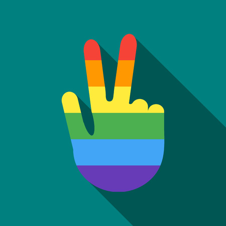 Hand in rainbow flag colors making the V sign with fingers icon in flat style on a turquoise background