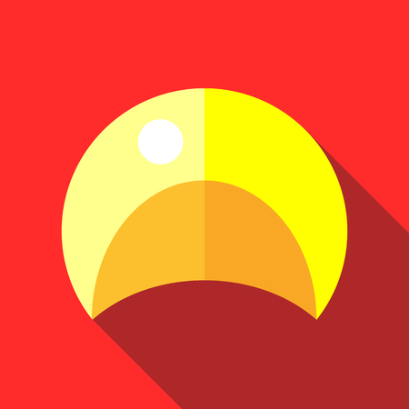 swim cap: Yellow swim cap icon in flat style on a red background